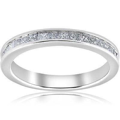 Pompeii3 1/2ct Diamond Princess Cut Channel Set Wedding Ring 10k White Gold