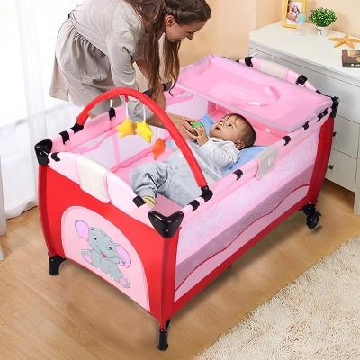 Pink Baby Crib Playpen Playard Pack Travel Infant Bassinet Bed Foldable