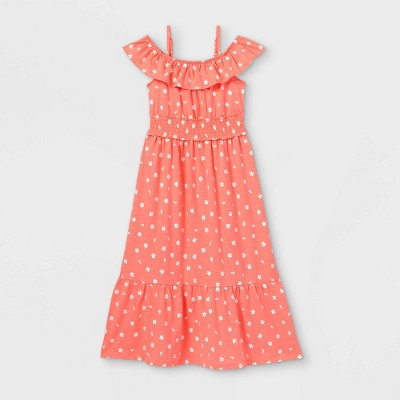 Girls' Printed Knit Maxi Flutter Sleeve Dress - Cat & Jack™ Coral
