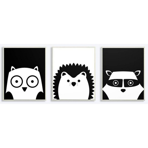 """3pc 10""""x0.5""""x15"""" Be Wild Black and White Critters Wall Plaque Art Set - Stupell Industries - image 1 of 1"""