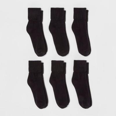 Women's 6pk Mary Jane Fold Over Cuff Crew Socks - A New Day™ Black 4-10