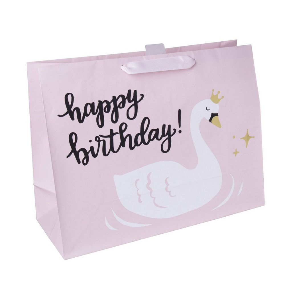 Swan Print Gift Bag Pastel Pink - Spritz