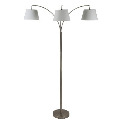 "75"" Ashbury 3 Arm Shaded Floor Lamp Brushed Steel - Decor Therapy"