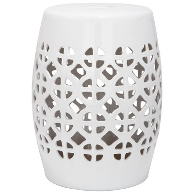 Superbe White Circle Lattice Garden Stool   White   Safavieh®