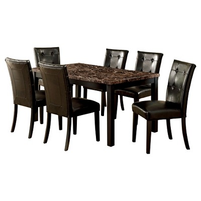 IoHomes 7pc Faux Marble Dining Table Set Wood/Black