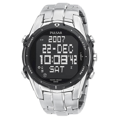 Men's Pulsar Digital World Time Chronograph - Silver Tone - PQ2001 - image 1 of 1