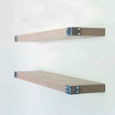 Willow & Grace Dennis Display Decor Floating Wood Shelves with Iron Corners for Kitchen, Bedroom, and Living Room Spaces