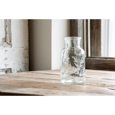 Park Hill Collection Etched Glass Apothecary Vase, Large
