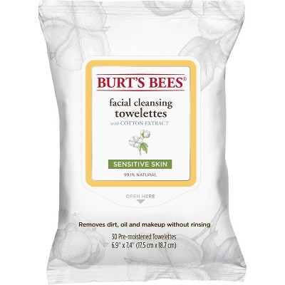 Burt's Bees Cotton Extract Sensitive Facial Cleansing Towelettes - 30 ct
