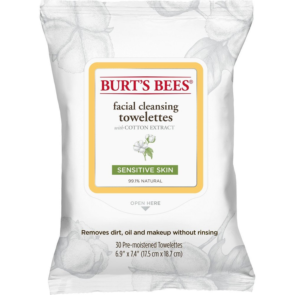Burt's Bees Cotton Extract Sensitive Facial Cleansing Towelettes - 30 ct, Sensitive Cotton Extract