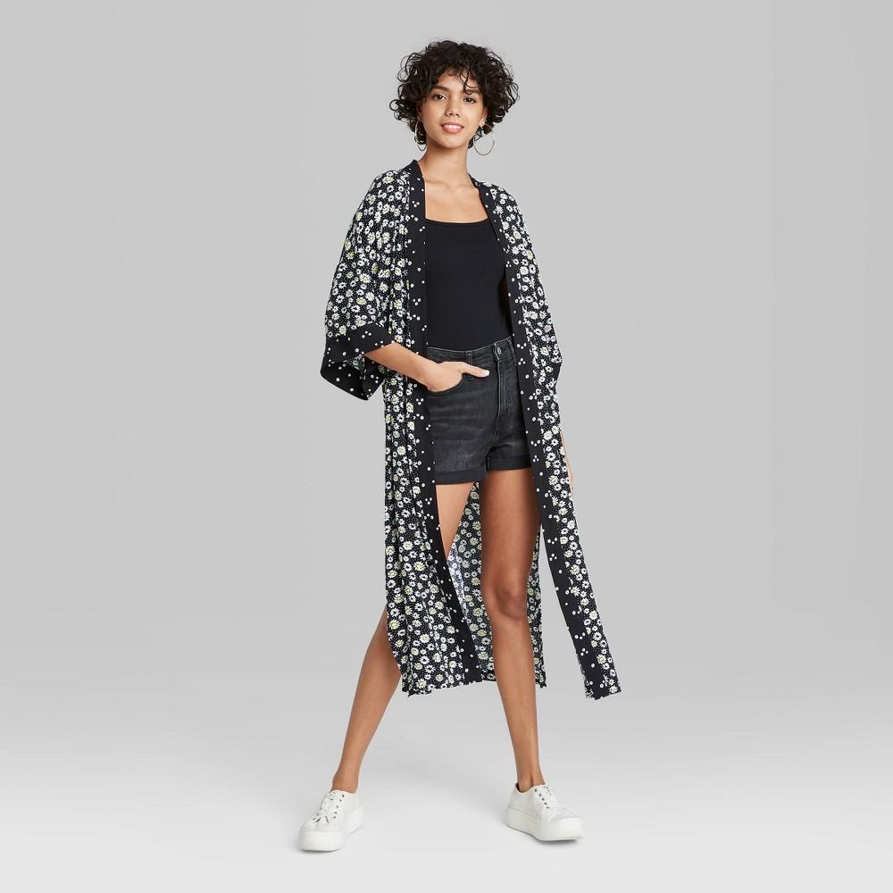Women 39 S Daisy Print Kimono Wild Fable 8482 Black One Size