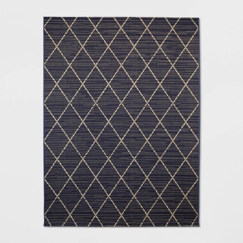 9'X12' Indoor/Outdoor Diamond Woven Area Rug Gray - Threshold