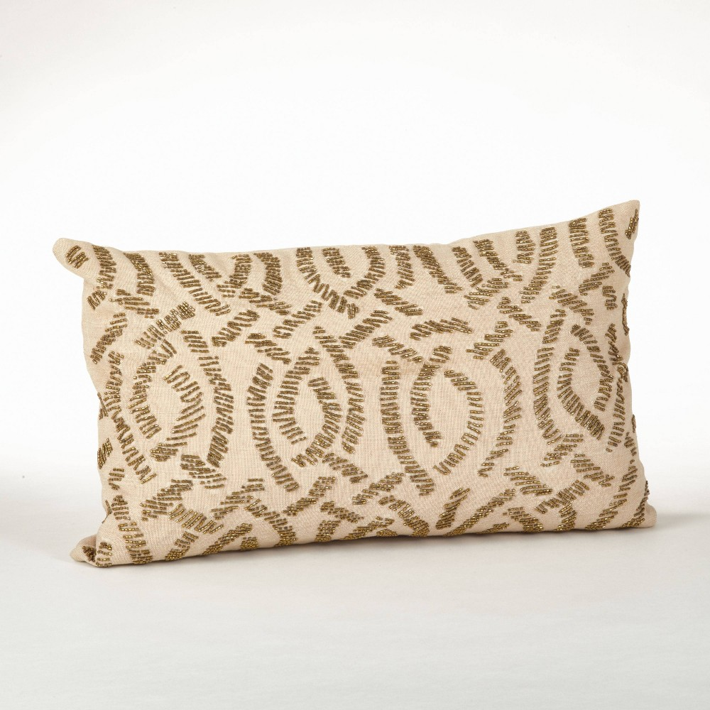 "Image of ""12""""x20"""" Beaded Design Pillow Down Filled Bronze - SARO Lifestyle, Brown"""