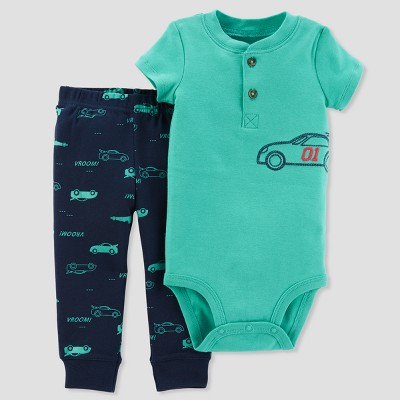 Baby Boys' 2pc Car Henley Bodysuit and Pants Set - Just One You® made by carter's Green 3M