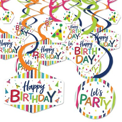 Big Dot of Happiness Cheerful Happy Birthday - Colorful Birthday Party Hanging Decor - Party Decoration Swirls - Set of 40