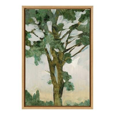 "16"" x 23"" Green Tree Line I Framed Canvas Wall Art - Amanti Art"