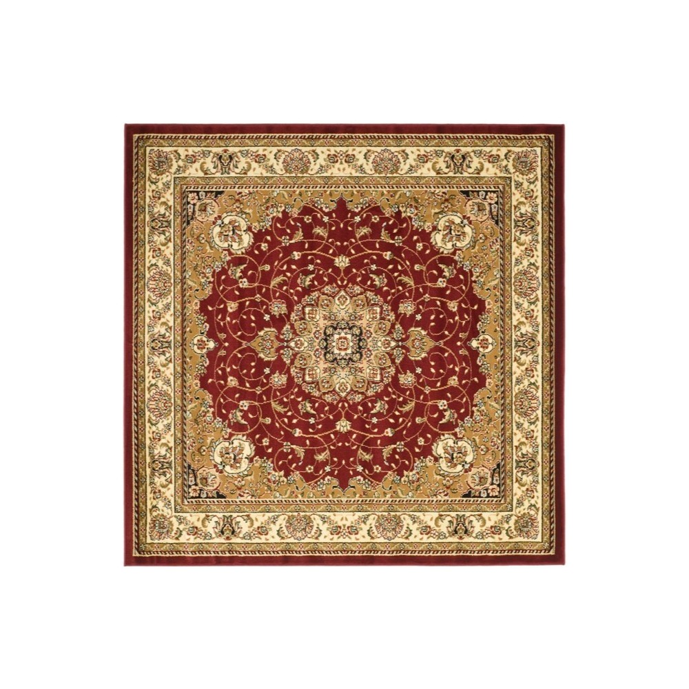 Red/Ivory Floral Loomed Square Area Rug 6'X6' - Safavieh