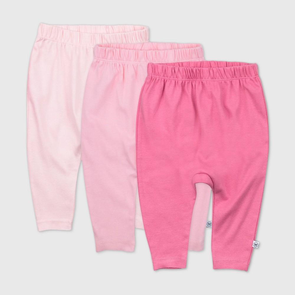 Honest Baby Girls 39 3pk Organic Cotton Cuff Less Harem Pants Pink 12m