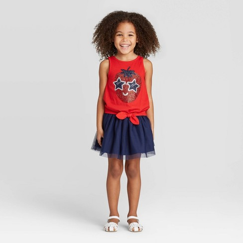 Toddler Girls' Glitter Strawberry Top and Skirt Set - Cat & Jack™ Red - image 1 of 3