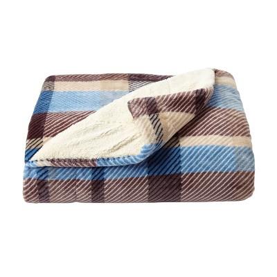 "60""x70"" Sherpa Fleece Plaid Throw Blanket - Yorkshire Home"
