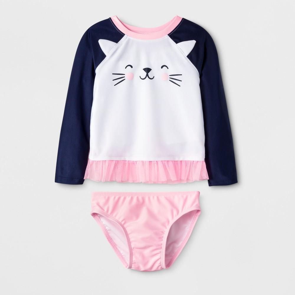 Toddler Girls' Long Sleeve Cat Face Rash Guard - Cat & Jack White 3T