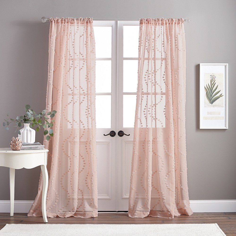 84 Dixon Wave Poletop Curtain Panel Blush