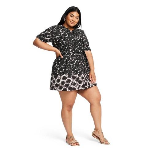 Women\'s Plus Size Shibori Print Elbow Sleeve Button-Front Mini Shirtdress -  Thakoon for Target Black/White