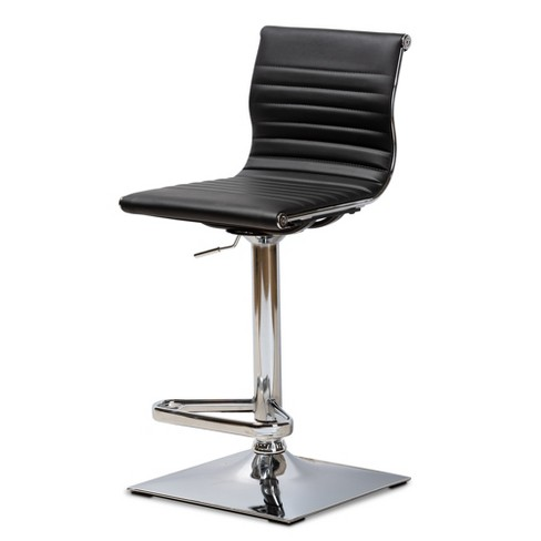 Swell Vanni Faux Leather Upholstered Chrome Finished Metal Adjustable Swivel Bar Stool Black Baxtonstudio Caraccident5 Cool Chair Designs And Ideas Caraccident5Info
