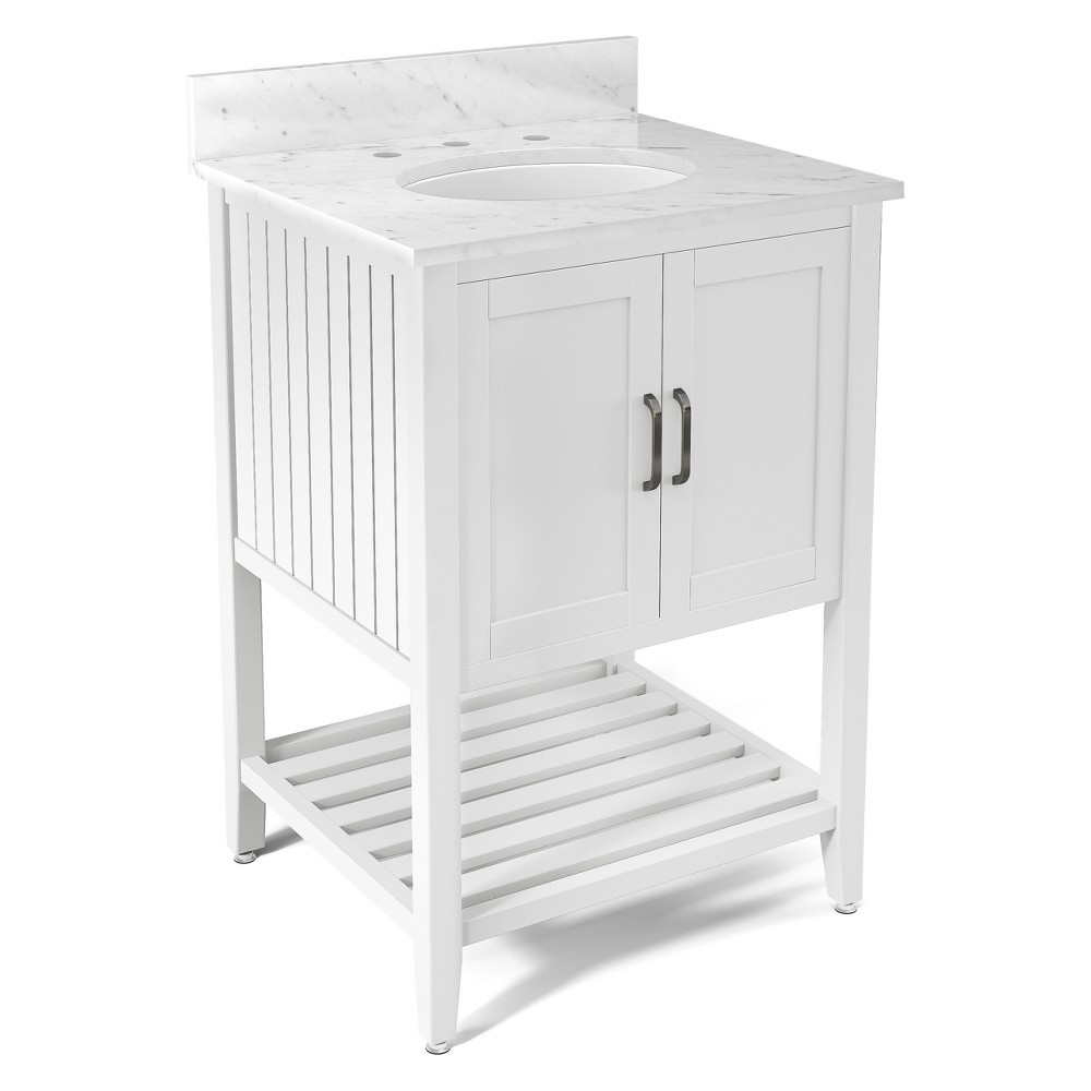 Bennett with White Marble Sink Top Set Bath Vanity Cabinet White 25 - Alaterre Furniture