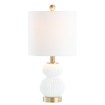 """20"""" Metal/Glass Daphne Ribbed Table Lamp (Includes LED Light Bulb) White - JONATHAN Y"""