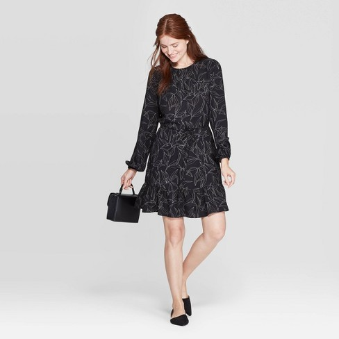 Women's Floral Print Long Sleeve Scoop Neck Mini Crepe Dress - A New Day™ Black - image 1 of 3