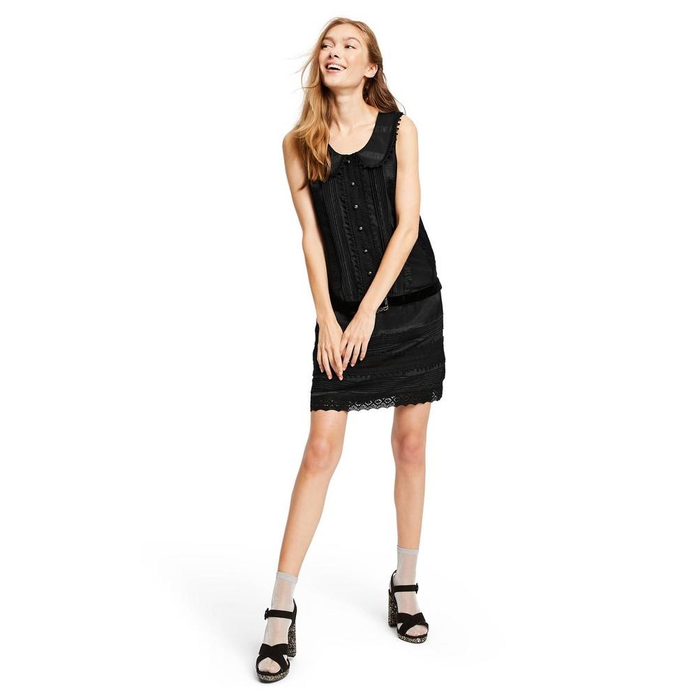 Image of Women's Sleeveless Scoop Neck Belted Mini Shirtdress - Anna Sui for Target Black M, Women's, Size: Medium