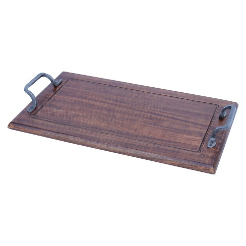 A Amp B Home Wooden Tray With Metal Handles 13 8x3 2x24