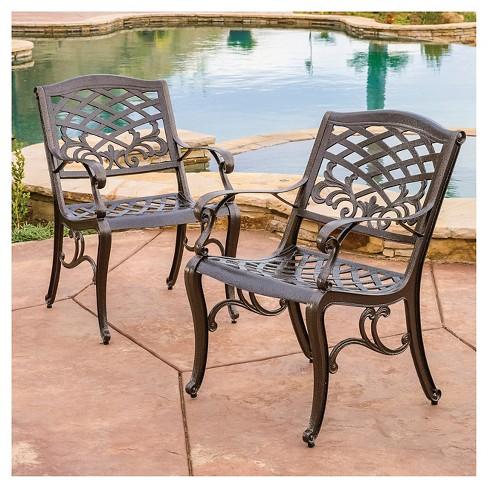 cast aluminum patio furniture Sarasota Set of 2 Cast Aluminum Patio Chair   Hammered Bronze  cast aluminum patio furniture
