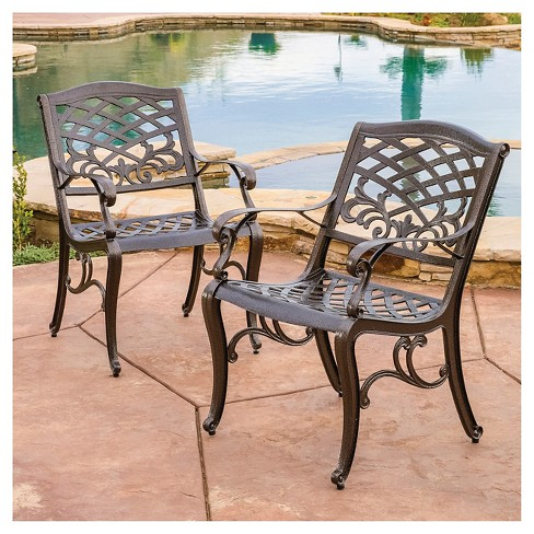 Sarasota Set Of 2 Cast Aluminum Patio Chair Hammered Bronze Christopher Knight Home Target