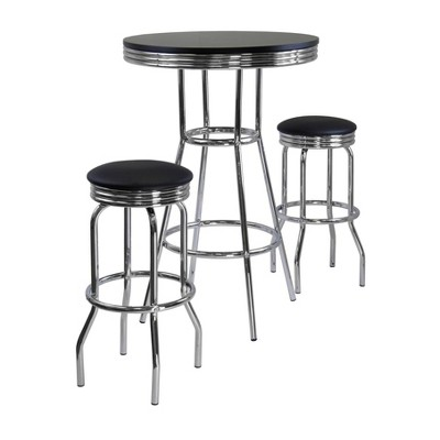 3 Piece Summit Set Pub Table Bar Height with Swivel Stools Black/Bright Chrome - Winsome