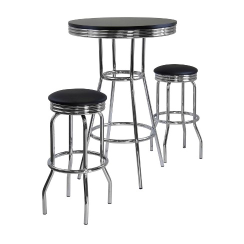 3pc Summit Set Pub Table Bar Height with Swivel Stools Black/Bright Chrome - Winsome - image 1 of 3