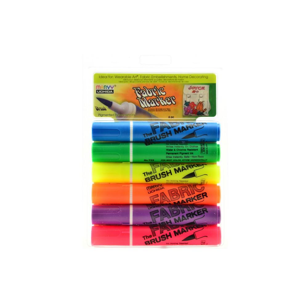 Image of Fabric Brush Markers 6ct Marvy Uchida -Fluorescent
