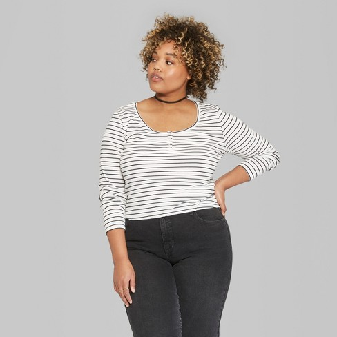 1a6ffad2291c8 Women s Plus Size Long Sleeve Striped Henley T-Shirt - Wild Fable™  Black White
