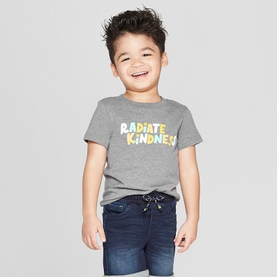 "view Toddler Boys' Short Sleeve ""Radiate Kindness"" T-Shirt - Cat & Jack Gray on target.com. Opens in a new tab."
