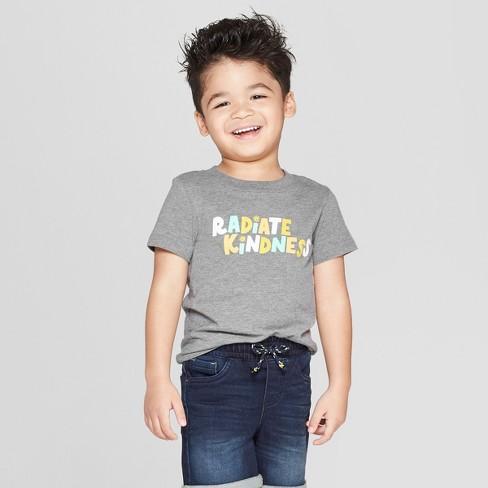 "Toddler Boys' Short Sleeve ""Radiate Kindness"" T-Shirt - Cat & Jack™ Gray - image 1 of 8"