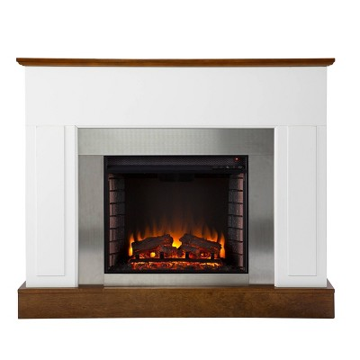 Cerkby Industrial Electric Fireplace White/Dark Tobacco - Aiden Lane