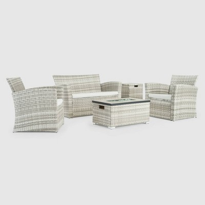 Magna 4pc Patio Fire Seating Set - Gray - Sego Lily