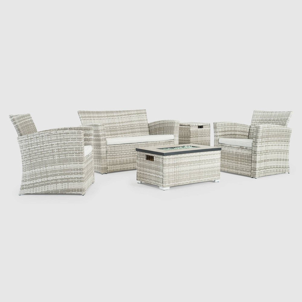 Image of Magna 4pc Patio Fire Seating Set - Gray - Sego Lily