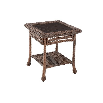 Modern Concept Faux Sea Grass Resin Rattan End Table - W Unlimited