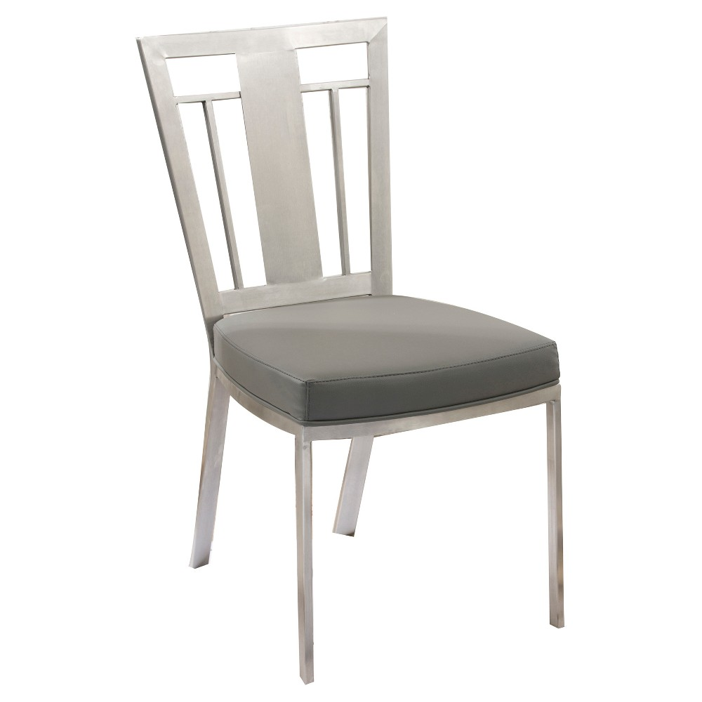 Cleo Contemporary Dining Chair - Gray And Stainless Steel (Set of 2) - Armen Living