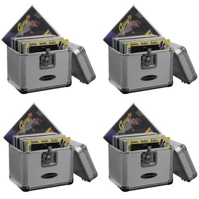 Odyssey KROM Transport Storage Case for 70 12 Inch Vinyl Records, Silver (4 Pack)