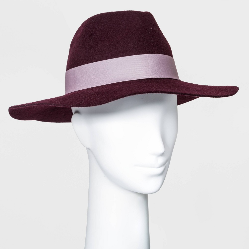 Hippie Hats,  70s Hats Womens Wide Brim Fedora Hat with Scarf Band - A New Day Burgundy Red $24.00 AT vintagedancer.com