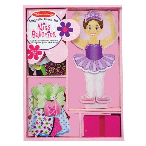 Melissa & Doug® Deluxe Nina Ballerina Magnetic Dress-Up Wooden Doll With 27pc of Clothing - image 1 of 3