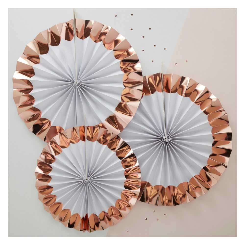 Image of 3ct Paper Fan Decorations Rose Gold, Gold White
